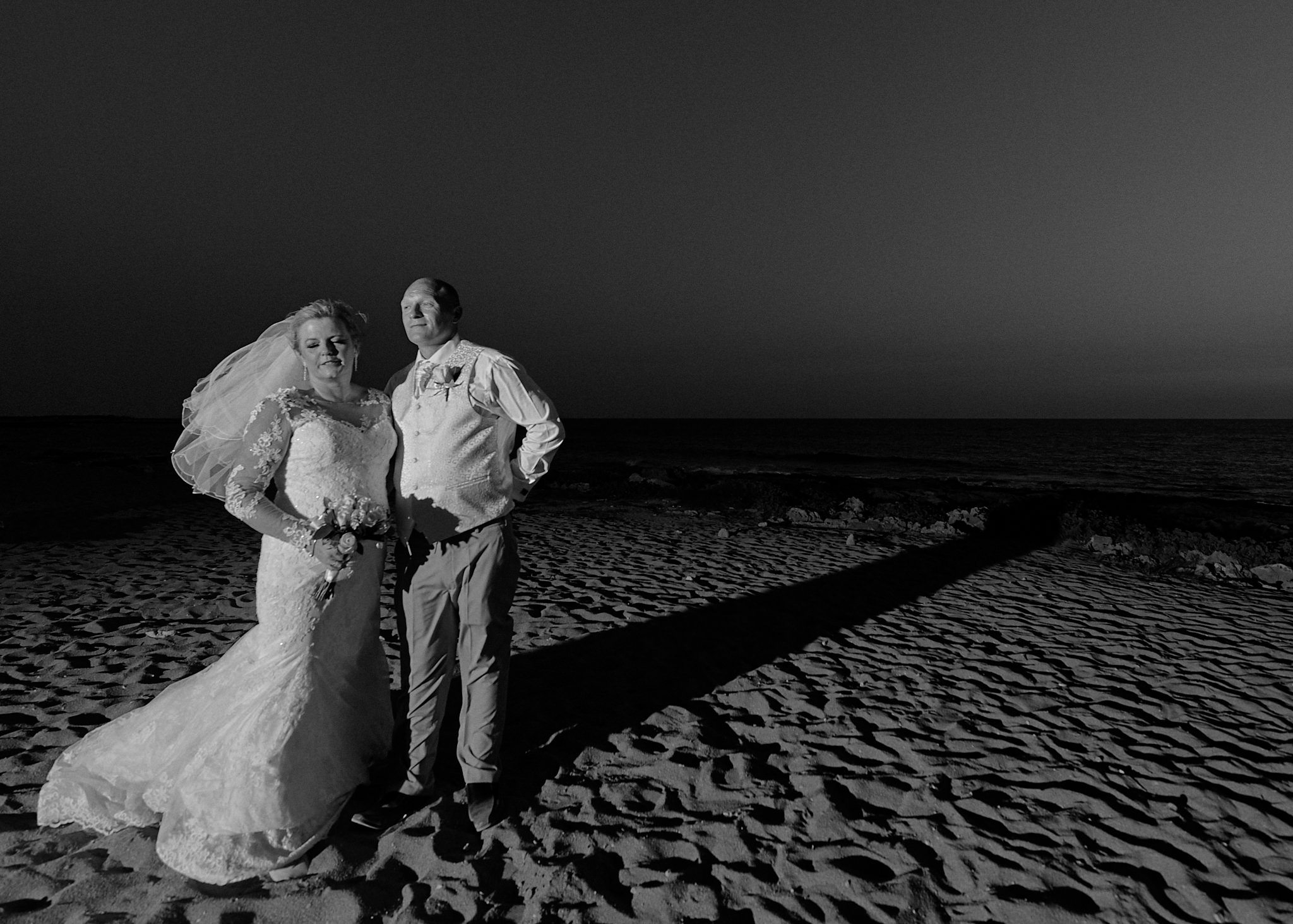 Monochrome, Black and White, B&W, Wedding photography of Kara and Ian taken at The Sentido Cypria Bay, in Pafos, Cyprus by Cyprus Wedding photographer - Richard King.  September 2018.  The wedding included a trip on a wedding bus.