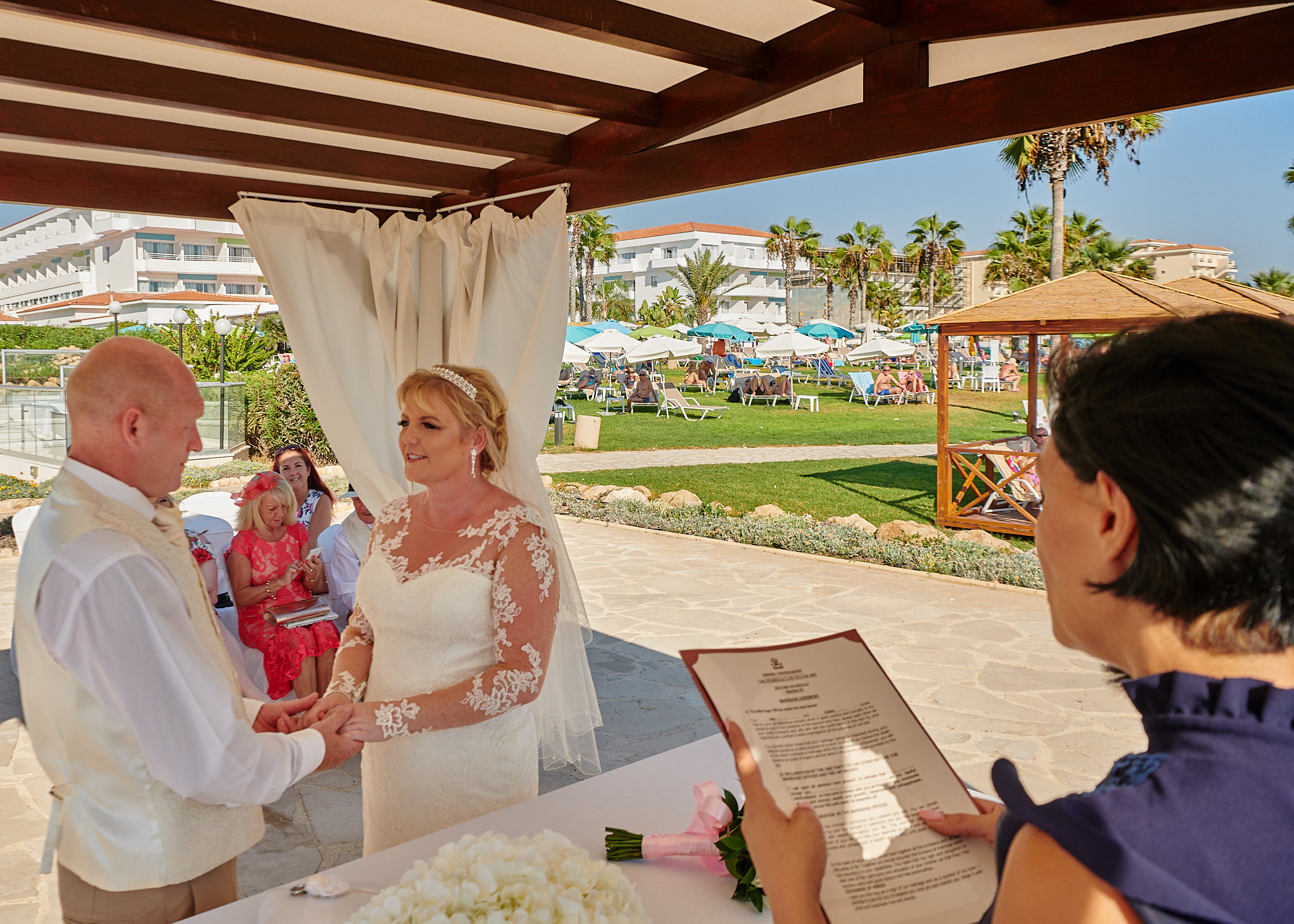 Wedding photography of Kara and Ian taken at The Sentido Cypria Bay, in Pafos, Cyprus by Richard King.  September 2018.  The wedding included a trip on a wedding bus.