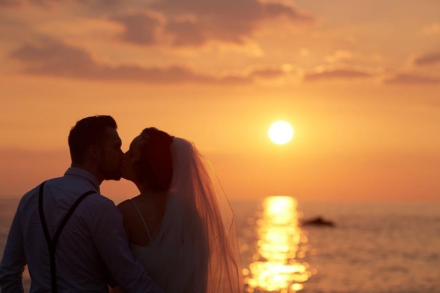 Sunset silhouette embrace
